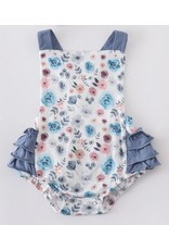 Chambray Floral Ruffle Romper