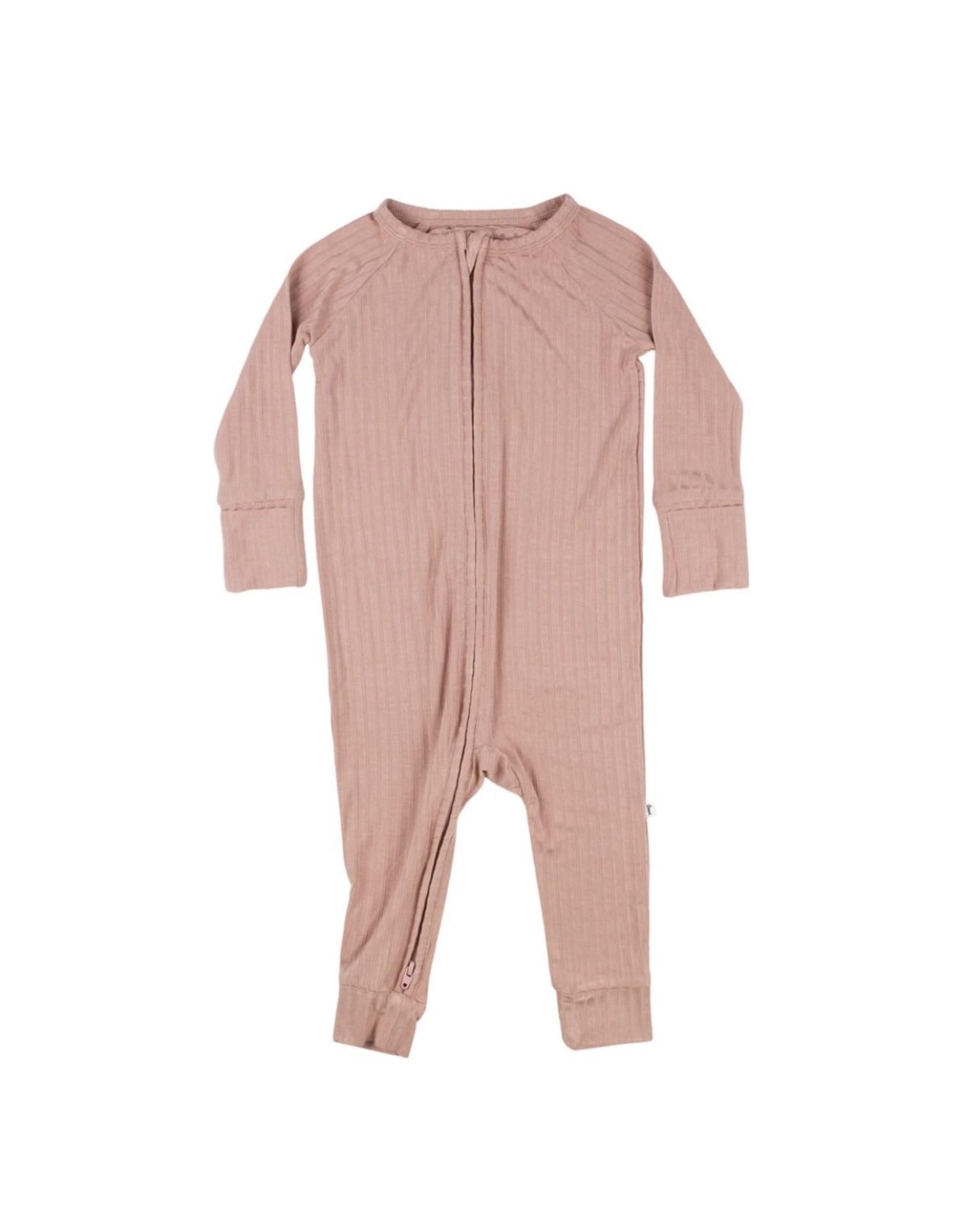 Brave Little Ones Brave Little Ones- Dusty Pink Ribbed Zip Romper