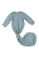 Brave Little Ones Brave Little Ones- Stormy Blue Ribbed Knotted Gown 0/3M
