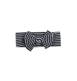 Brave Little Ones Brave Little Ones- Black & White Stripe Bow Headband