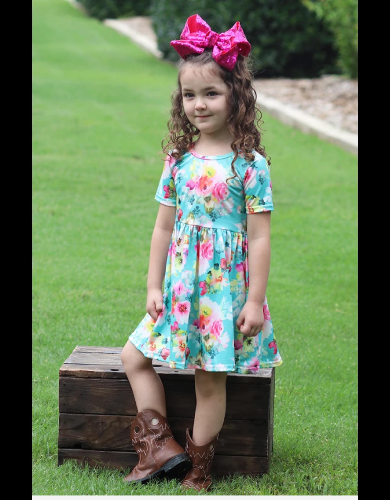 Aqua Floral Twirl Dress