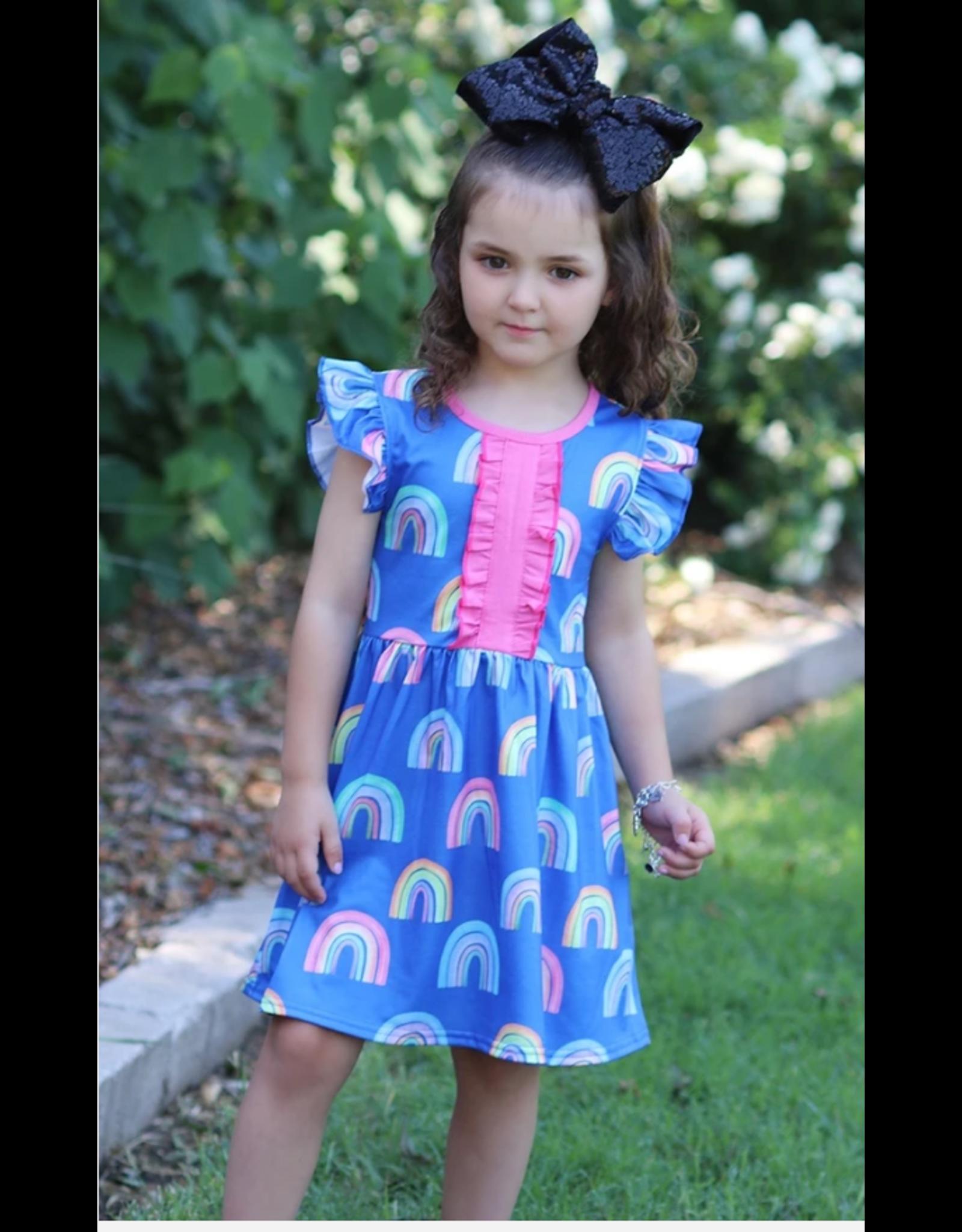 Angel Sleeve Rainbow Dress