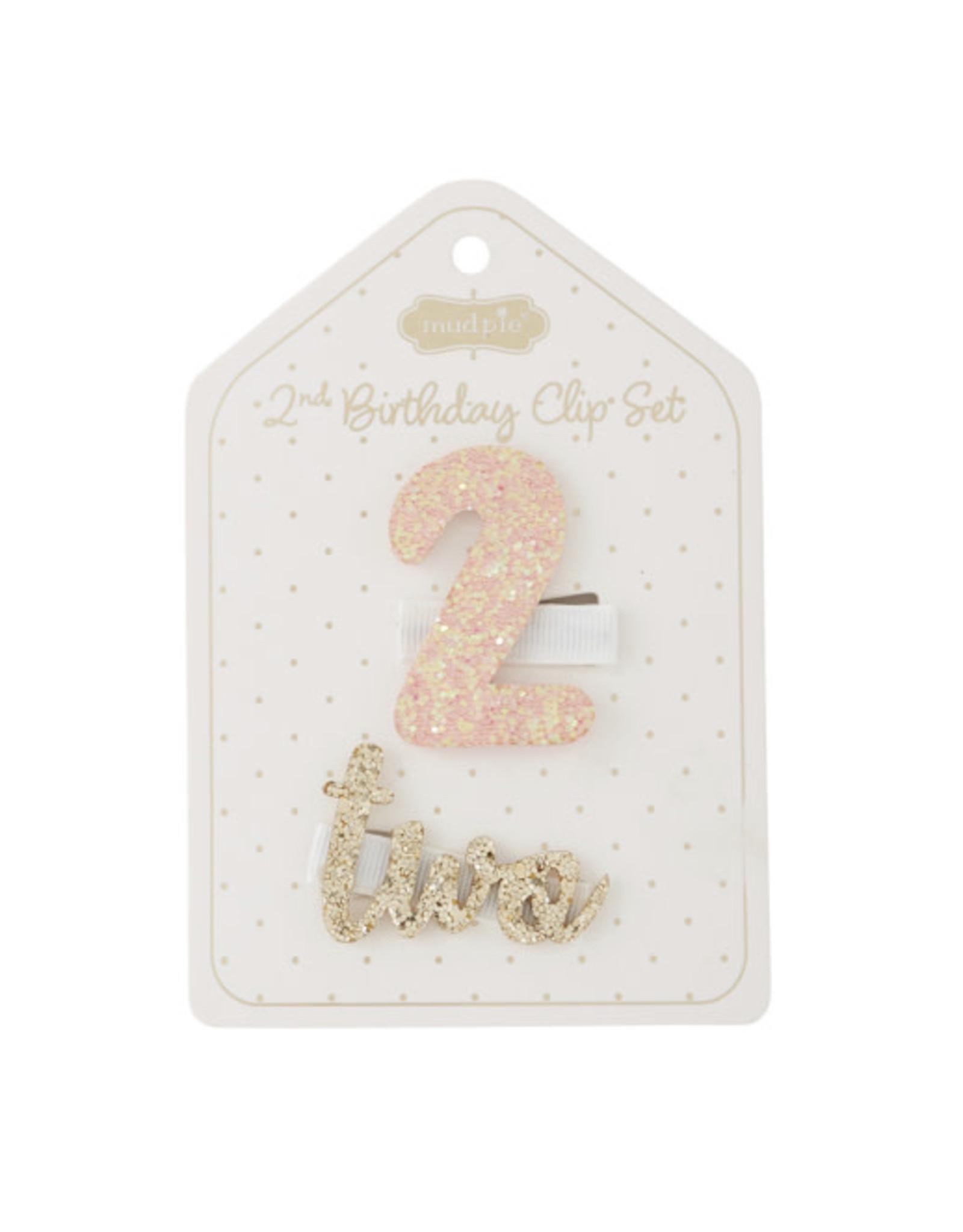 Mudpie Mud Pie- Light Pink 2nd Birthday Clip Set