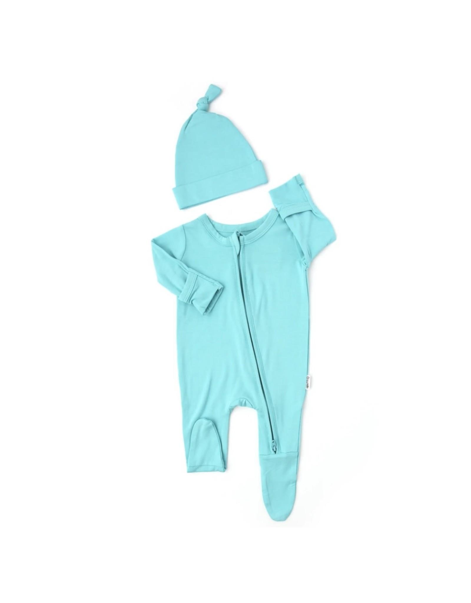 Gigi & Max Gigi & Max- Reese Blue NB Zipper Footie & Hat Set