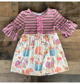 Stripe Pumpkin Floral Dress