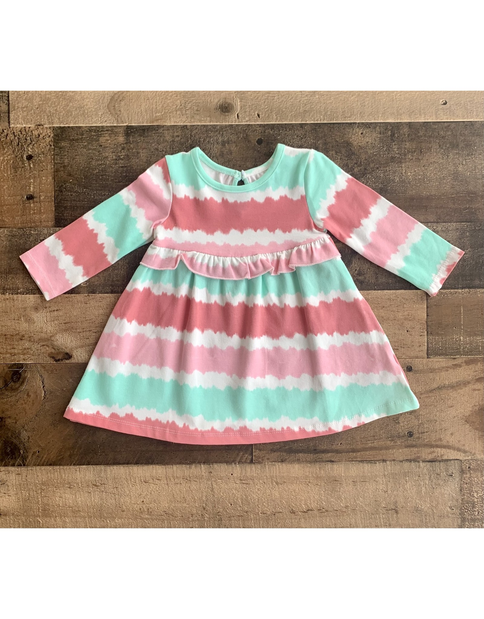 Little Me Little Me- Pastel Tie Dye Stripe Knit Dress