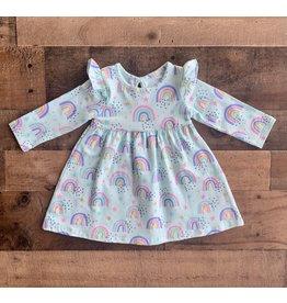 Little Me Little Me- Aqua Rainbow Knit Dress