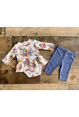 Little Me Little Me- Blue Floral Bodysuit Set