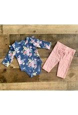 Little Me Little Me- Pink Floral Bodysuit Set