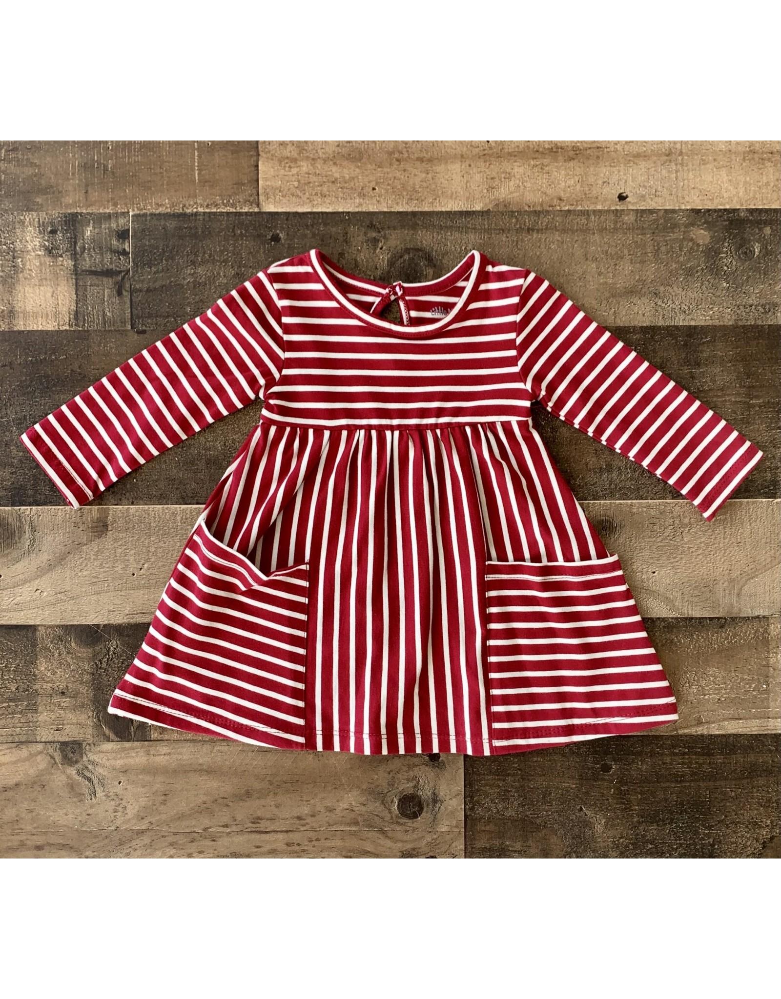 Little Me Little Me- Festive/Ivory Stripe Knit Dress