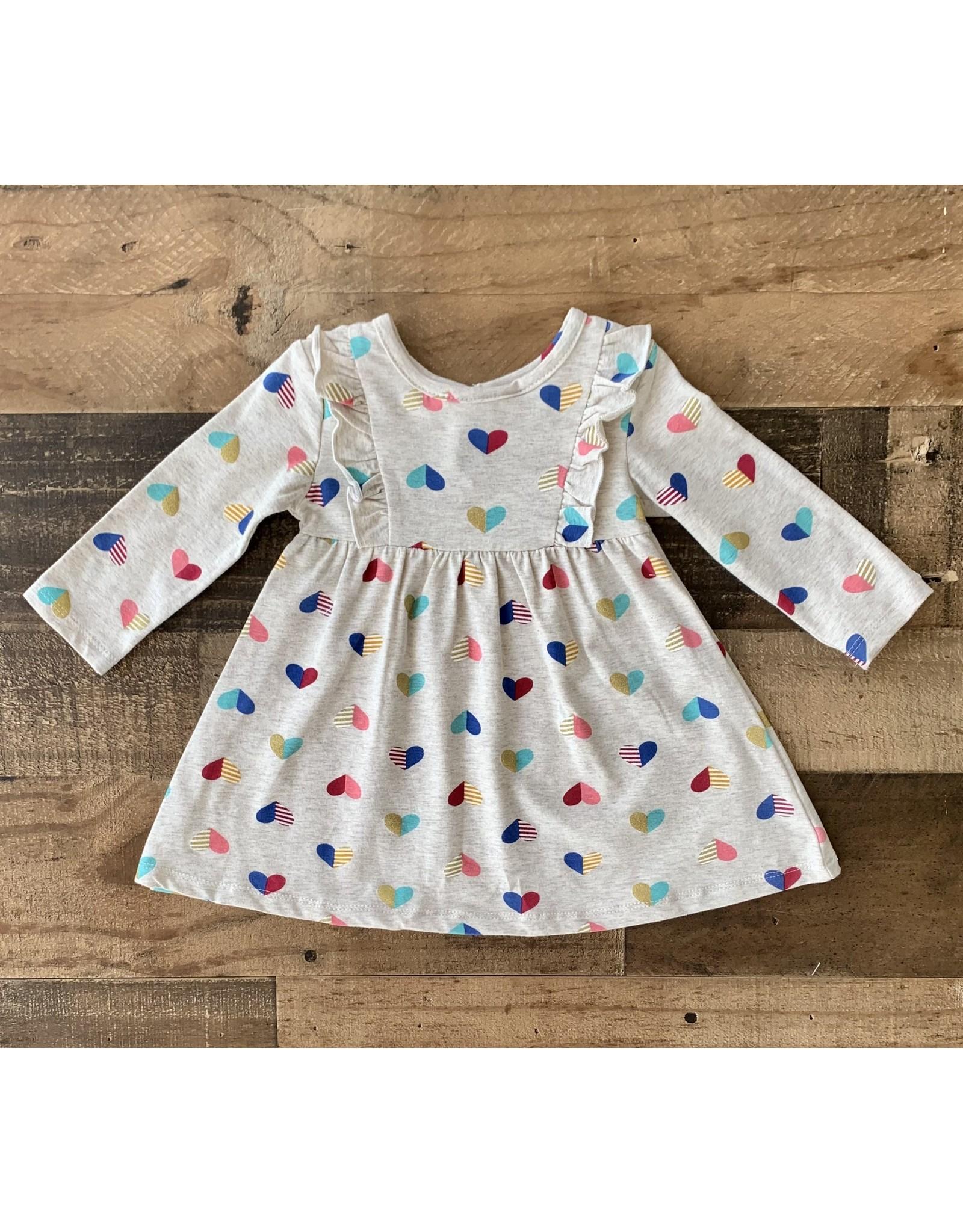 Little Me Little Me- Oatmeal Heart Knit Dress
