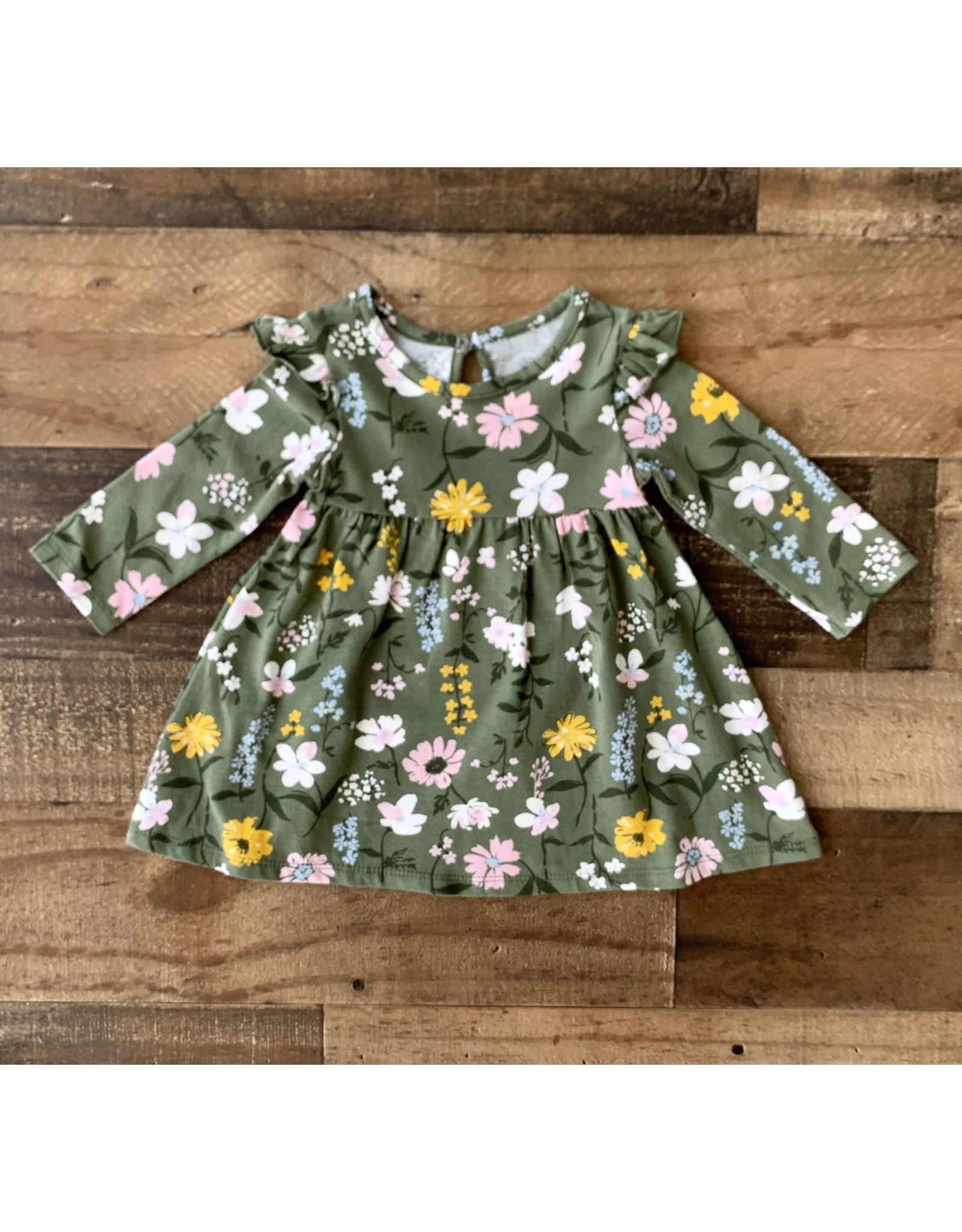 Little Me Little Me- Green Multi Foral Knit Dress