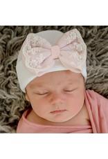 ILYBEAN Ily Bean- White Hat Pink Lace & Pearl Trim Bow