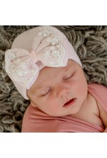 ILYBEAN Ily Bean- Pink Hat & Bow Pearl Lace Trim
