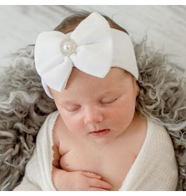 ILYBEAN Ily Bean- White Nursery Headband w/Pearl Center