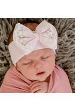 ILYBEAN Ily Bean- Pink Lace & Pearl Trim Nursery Headband