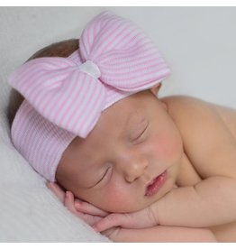 ILYBEAN Ilybean - Pink White Striped w/White Ribbon Nursery Headband