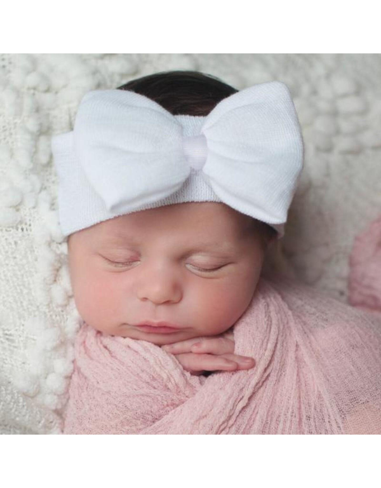 ILYBEAN Ilybean - White Bow White Ribbon Nursery Headband