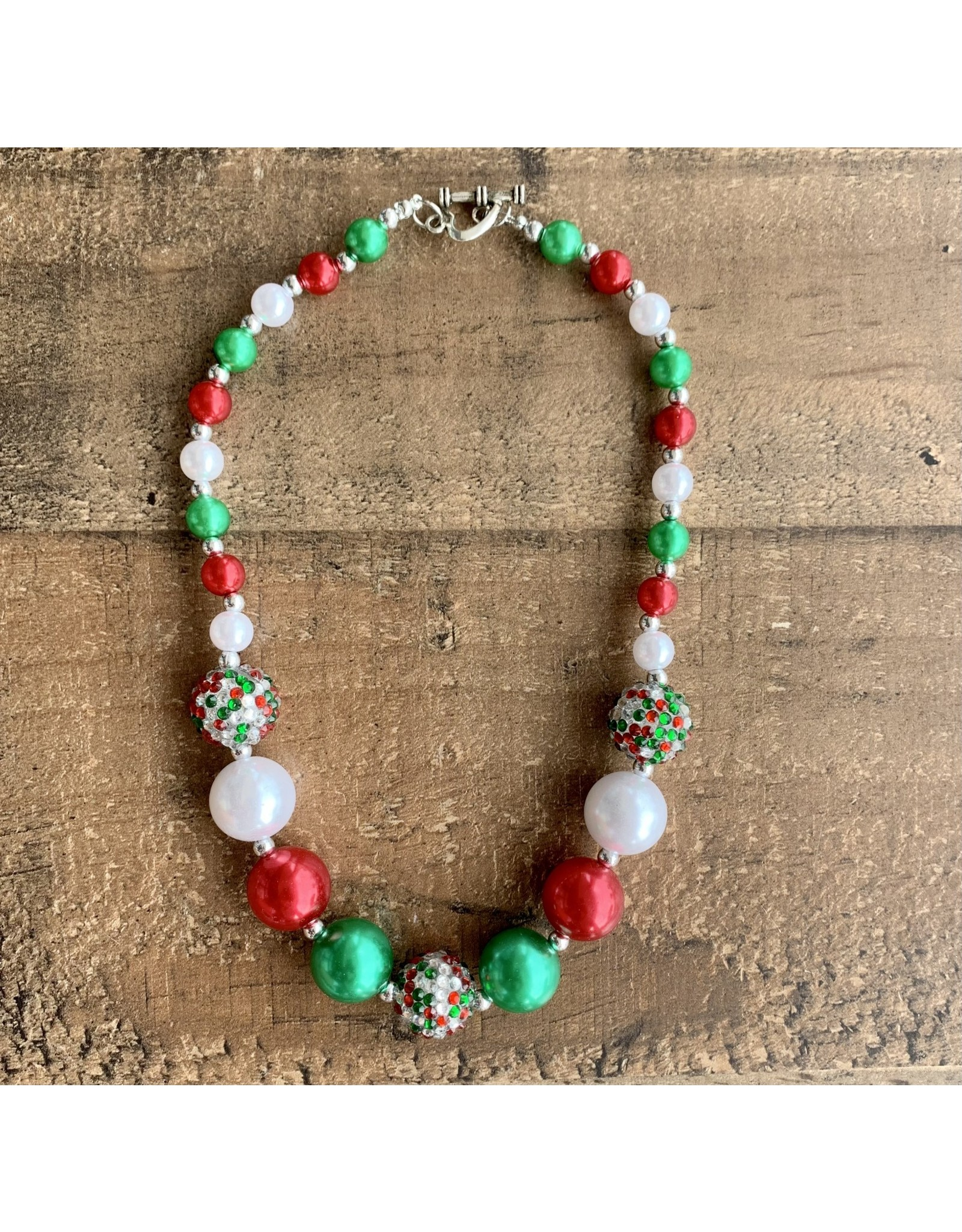 Red, Green & Pearl Tone Chunky Necklace