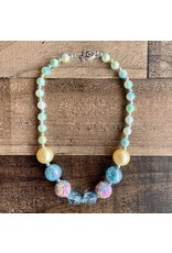 Pearl Yellow & Turq Chunky Necklace