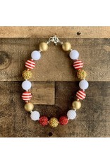 Red, White & Gold Chunky Necklace