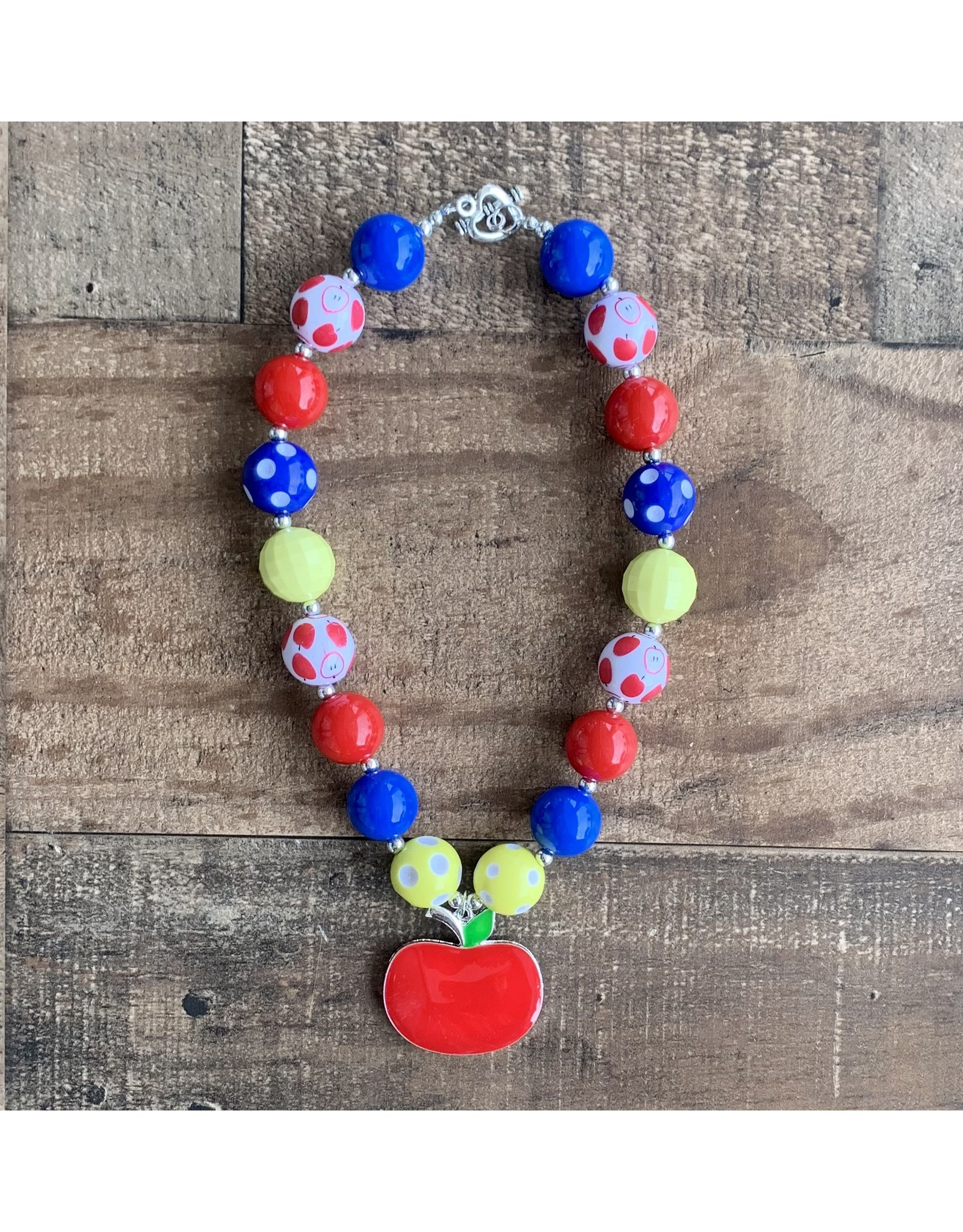 Apple Printed Pendant Chunky Necklace
