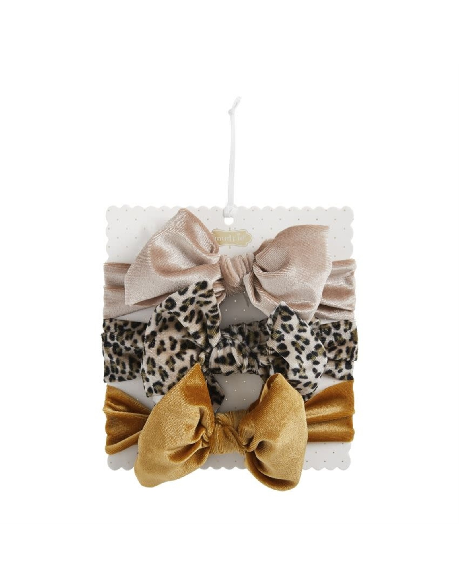 Mudpie Mud Pie- Grey Leopard Velvet Bow Set