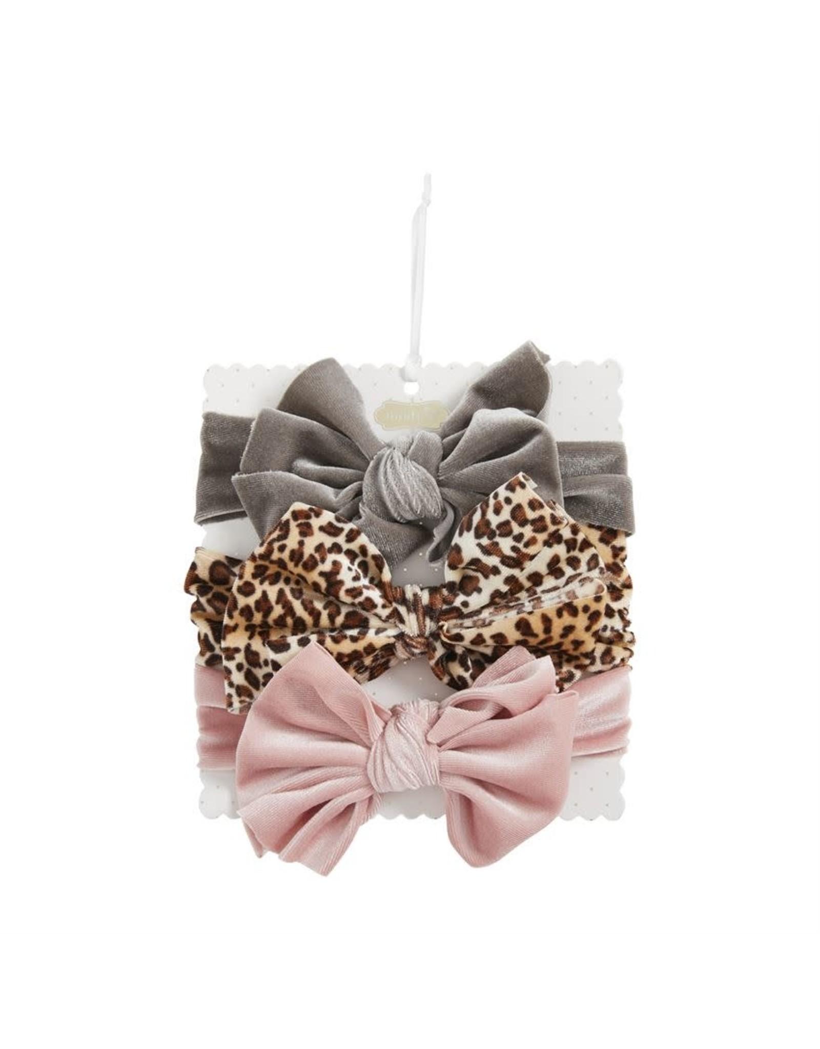 Mudpie Mud Pie- Brown Leopard Velvet Bow Set