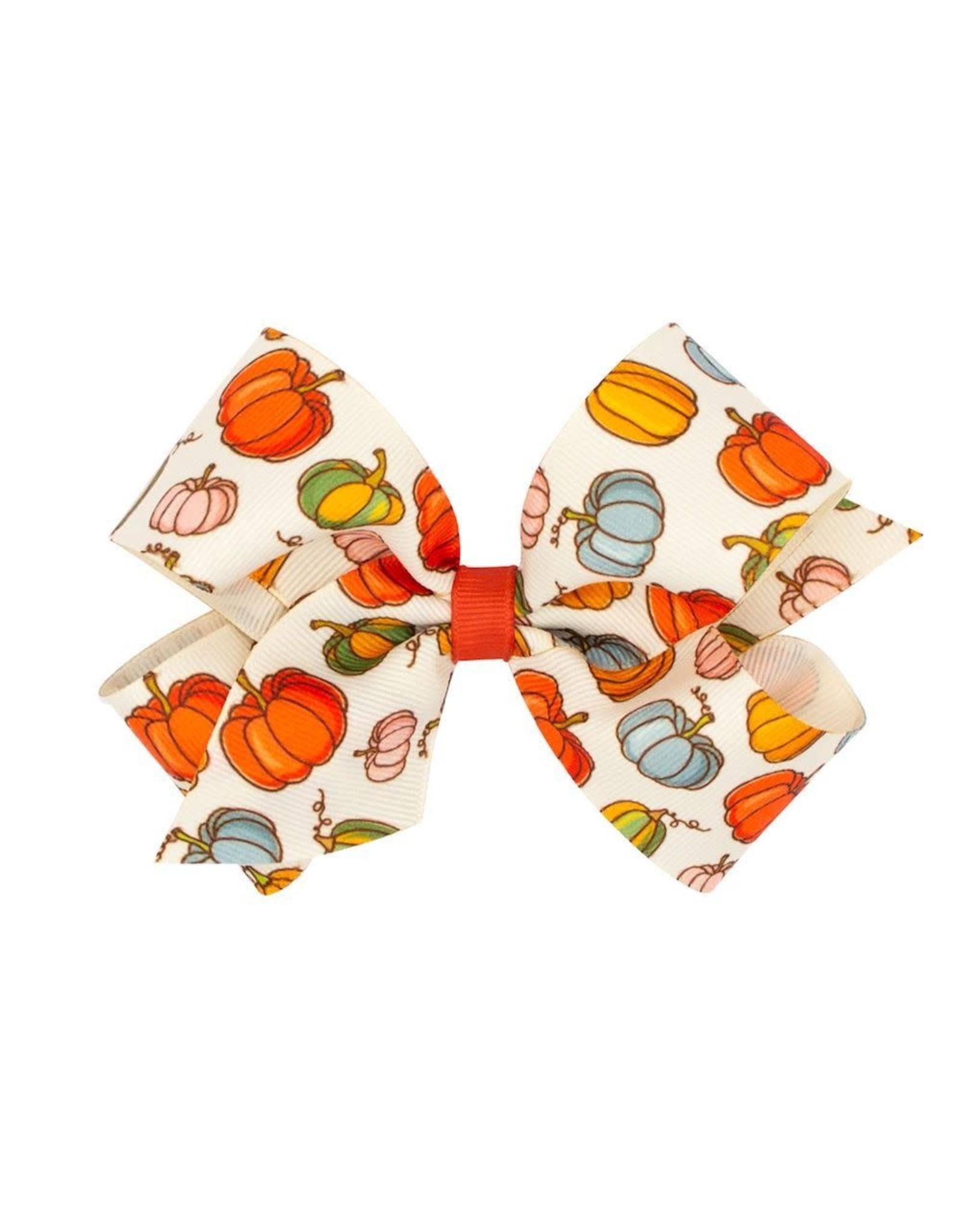 Wee Ones- Multi Pumpkin Harvest Print King Bow