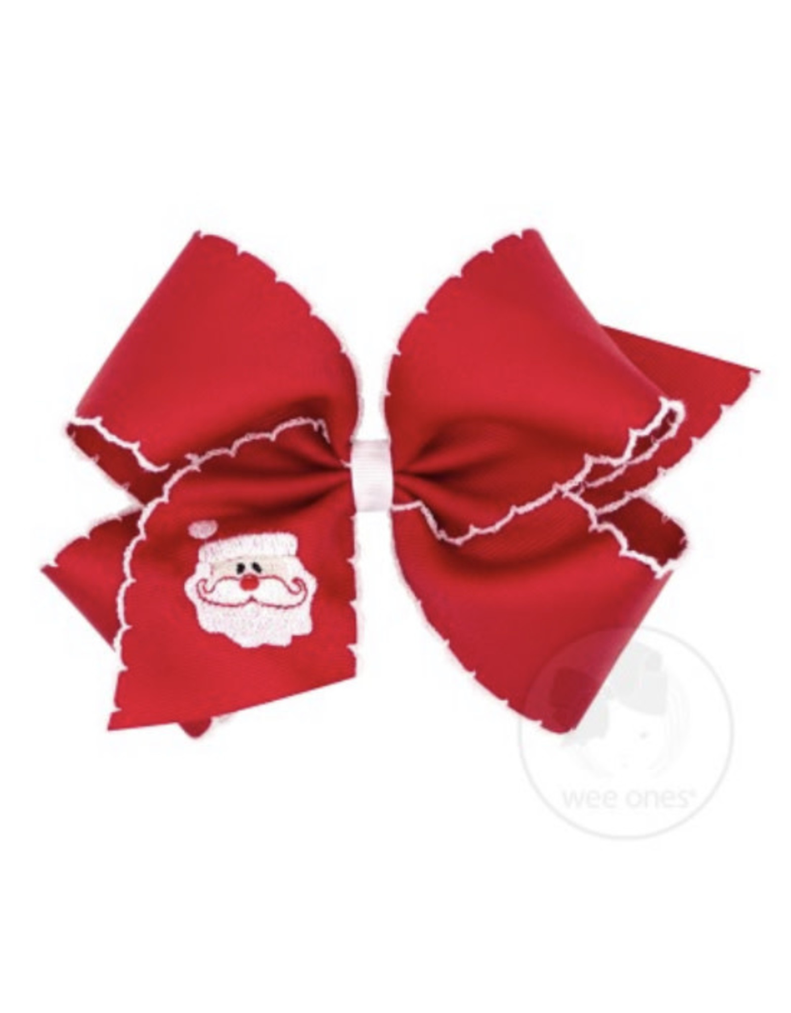Wee Ones- King Red Moonstitch Santa Bow