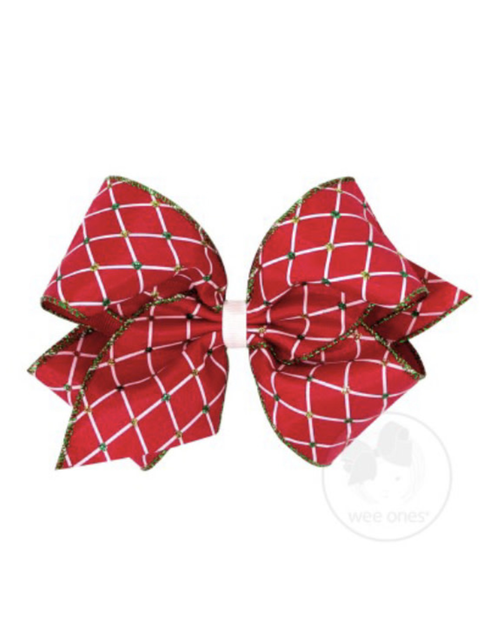 Wee Ones- King Wht/Red Diamond Seqiun Plaid Bow