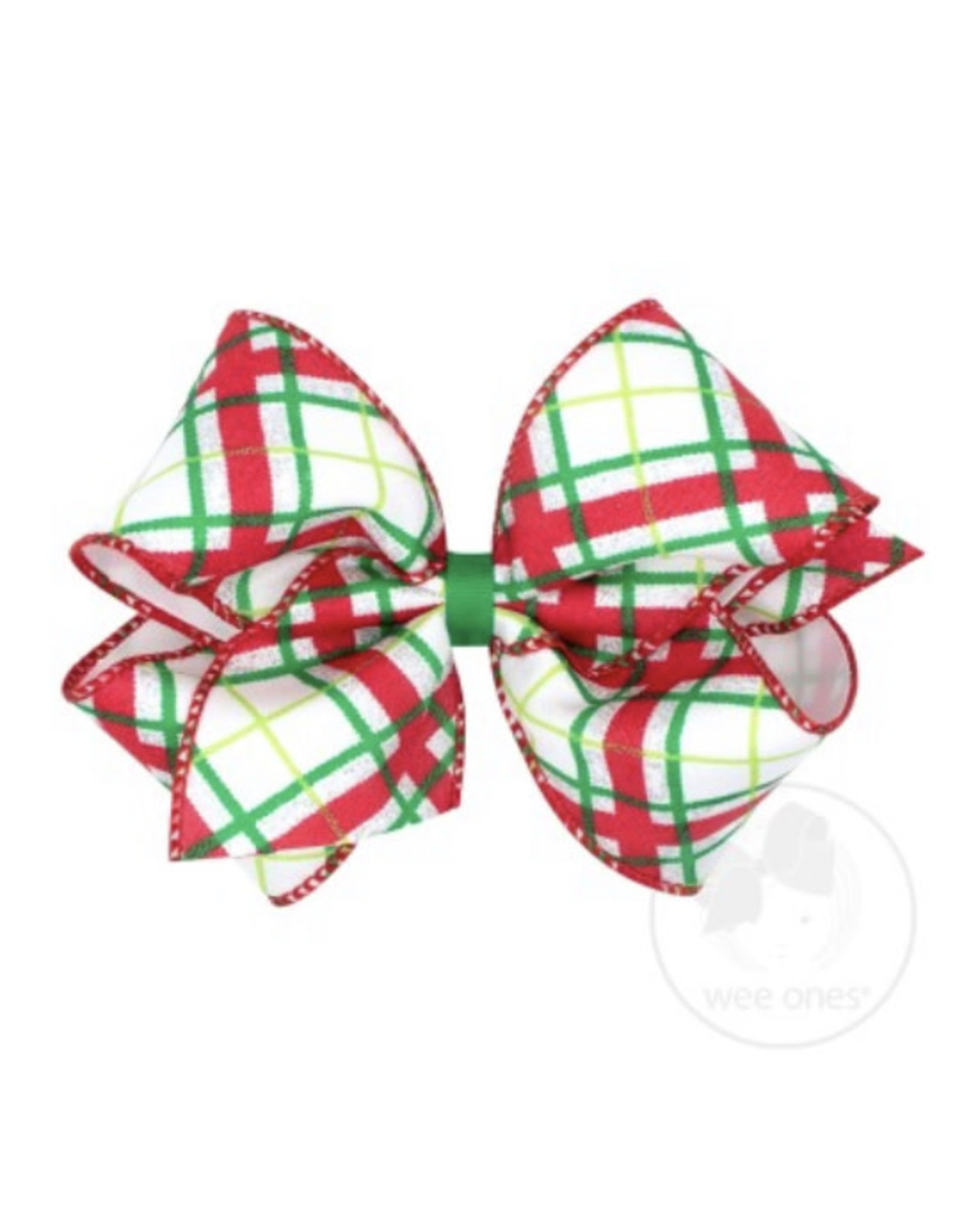Wee Ones- King Wht/Red/Green Seqiun Plaid Bow
