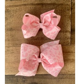 Wee Ones- Lt Pink Leopard Print Bow