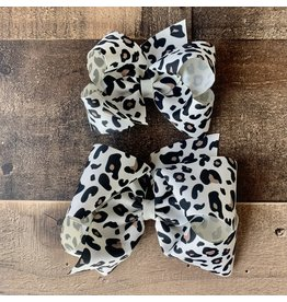 Wee Ones- Antique White Leopard Print Bow