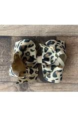 Wee Ones- Khaki Leopard Print Medium Bow