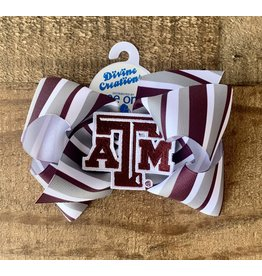 Wee Ones - King Texas A & M College Print Bow w/Patch