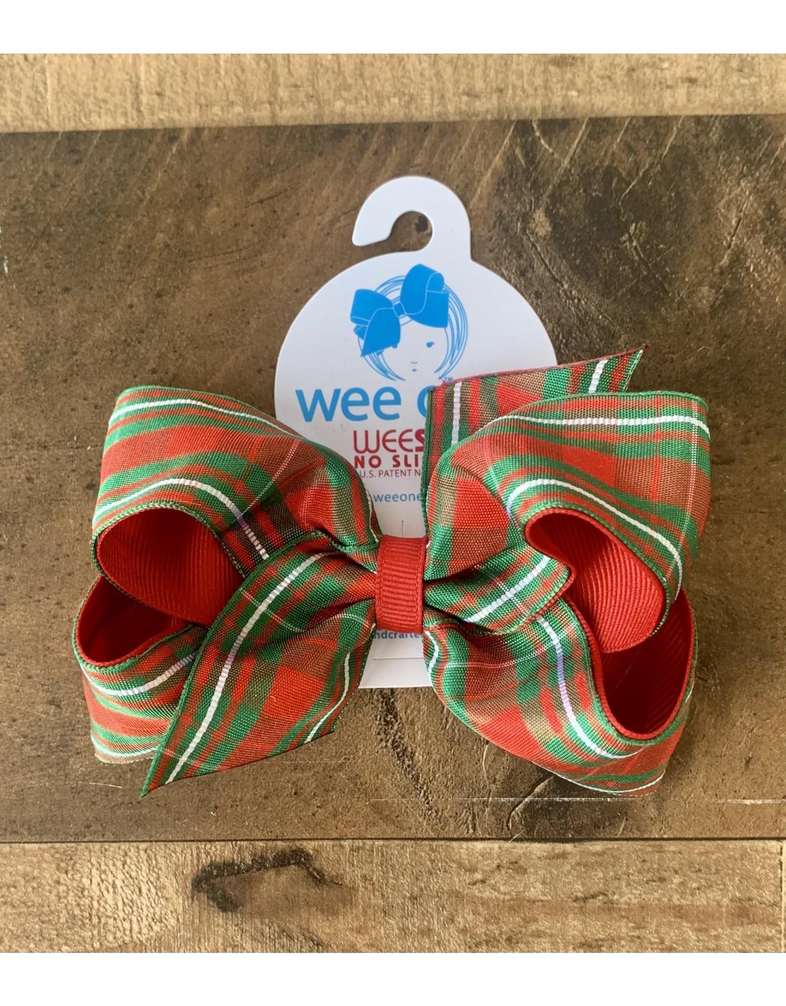 Wee Ones- Medium Christmas Plaid w/White Bow