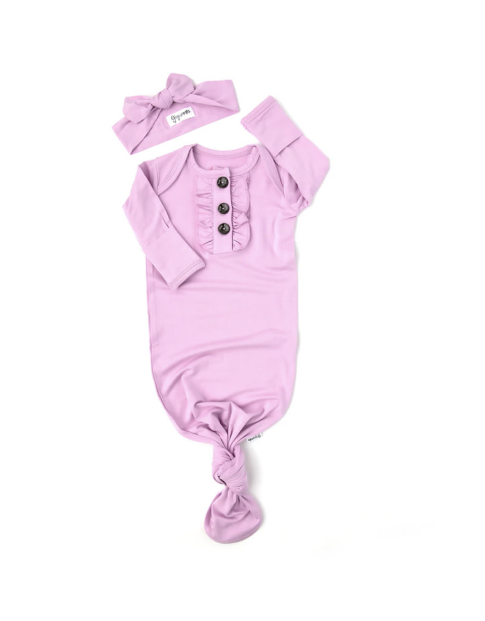 Gigi & Max Gigi & Max - Hailey Lavender Knotted Ruffle Button Gown & Headband Set