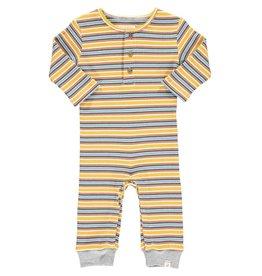 Me & Henry Me & Henry- Mason Rib Romper: Mustard/Blue Stripe