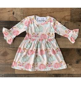 Pink &Mint Pumpkin Flare Sleeve Dress
