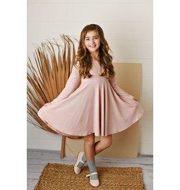 Serendipity Serendipity- Pink Stripe Ribbed Knit Dress
