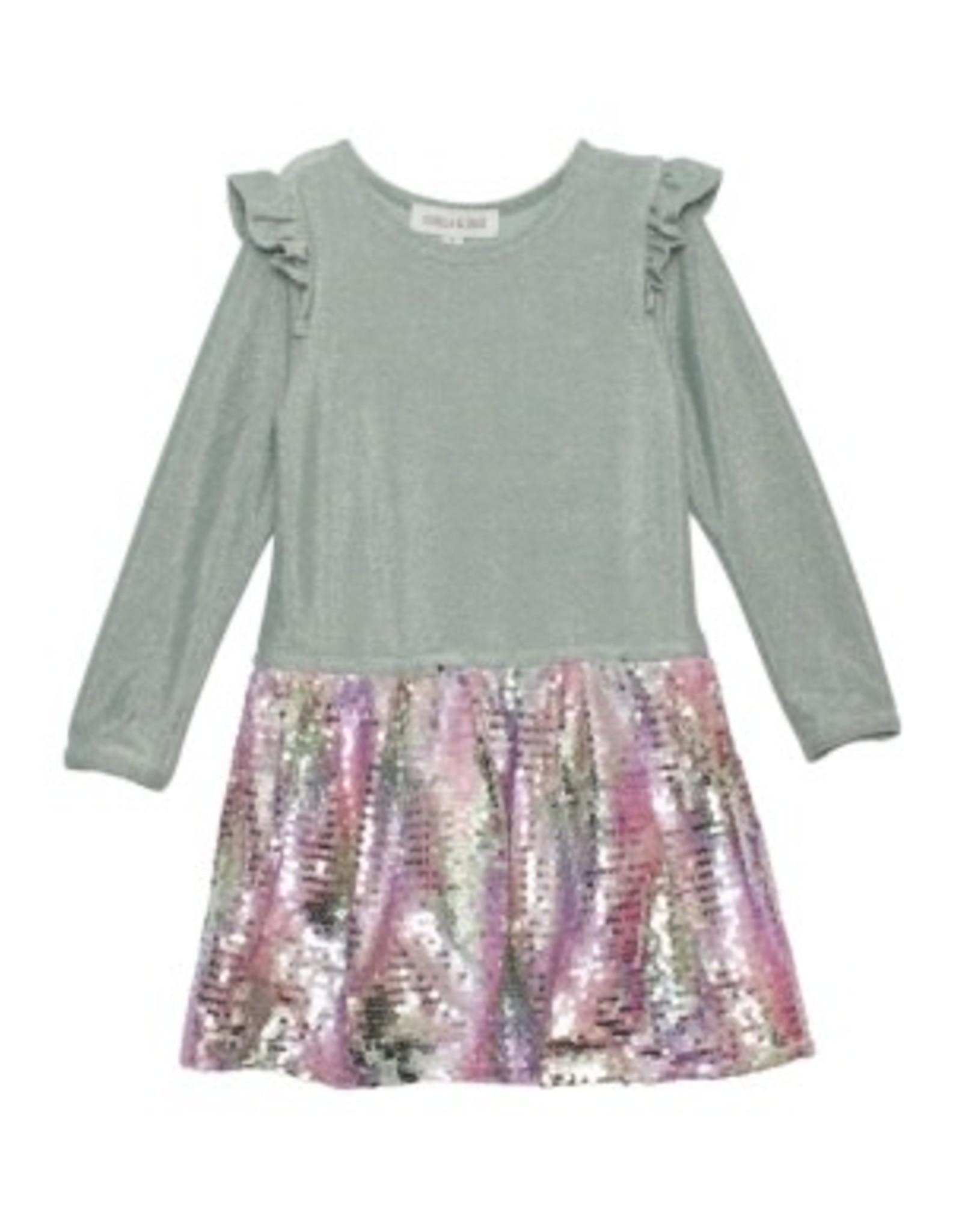 Isobella & Chloe Isobella & Chloe- Glitterbox Knit Dress: Green