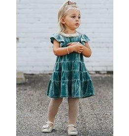 Isobella & Chloe Isobella & Chloe- SS Velvet Tiered Dress: Blue
