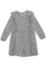 Isobella & Chloe Isobella & Chloe- Textured Ruffle Knit Dress: Black