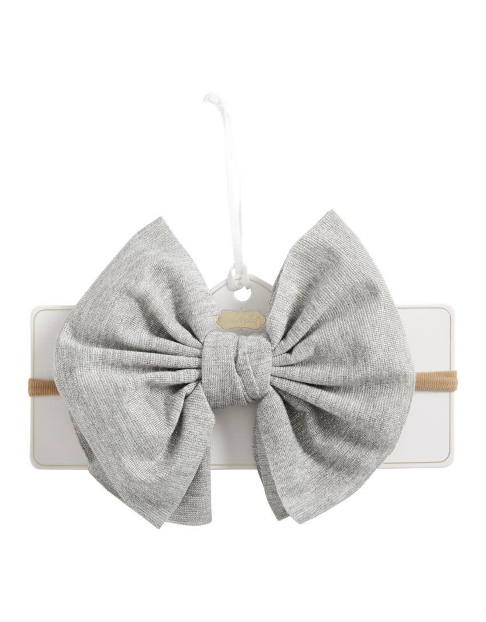 Mudpie Mud Pie- Shimmer Bow Headband: Grey