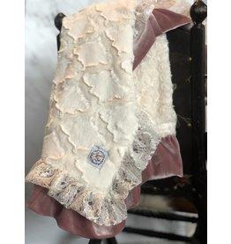 Razzle Baby Razzle Baby- Double Plush Double Ruffle Ivory Slate Blanket