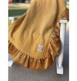 Razzle Baby Razzle Baby- Mustard Double Sided Corduroy Trim Blanket