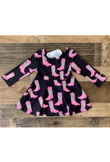 Black & Pink Cowboy Boot Twirl Dress