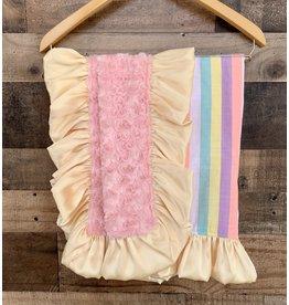 Razzle Baby Razzle Baby- Pastel Stripes Ruffle Plush Blanket