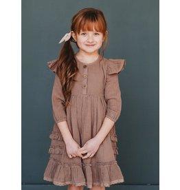 Ren & Rouge Ren & Rouge- Brown Ruffled Gauze Dress